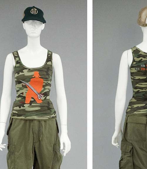Mannequin wearing a camouflage tank top