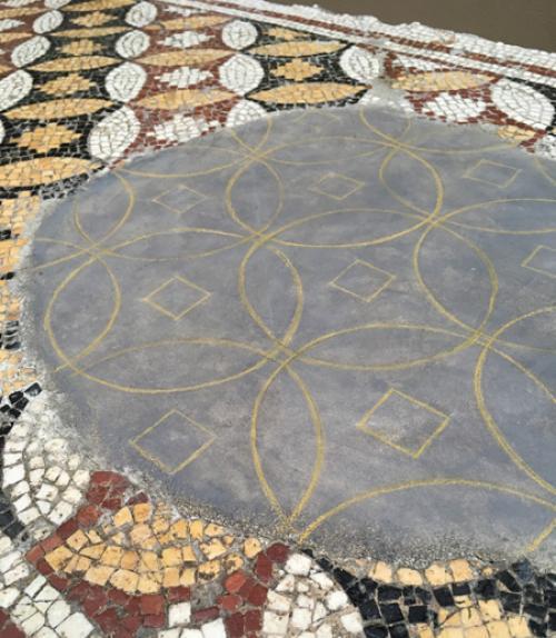 Close up of tile mosaic