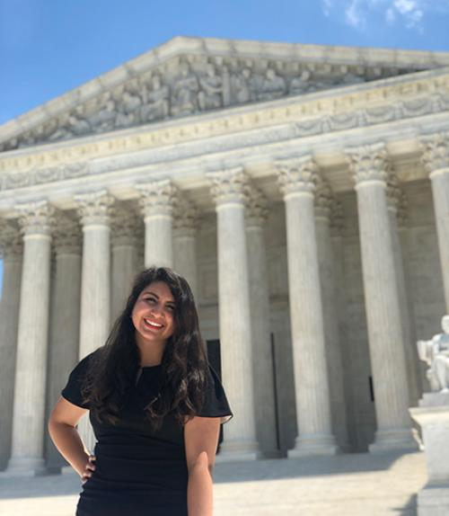 Estefania Perez outside the Supreme Court building