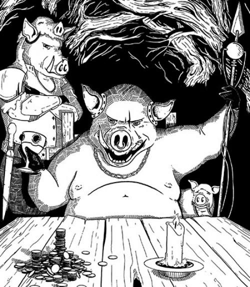 Illustration from the book, showing hog king rejoicing in his money