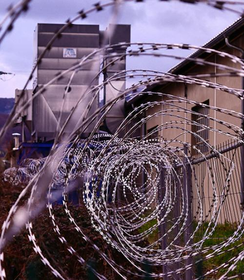 prison wall with wire