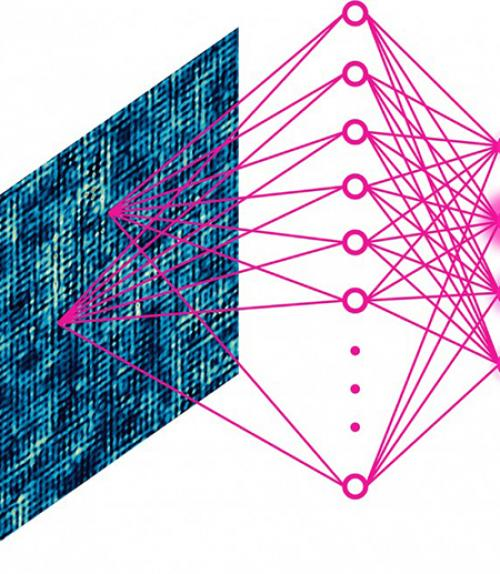 A schematic illustrating how a neural network is used to match data from scanning tunneling microscopy to a theoretical hypothesis.