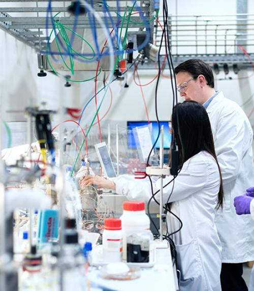 Two people in white coats in a laboratory