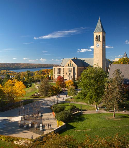 Cornell's central campus with lake beyond