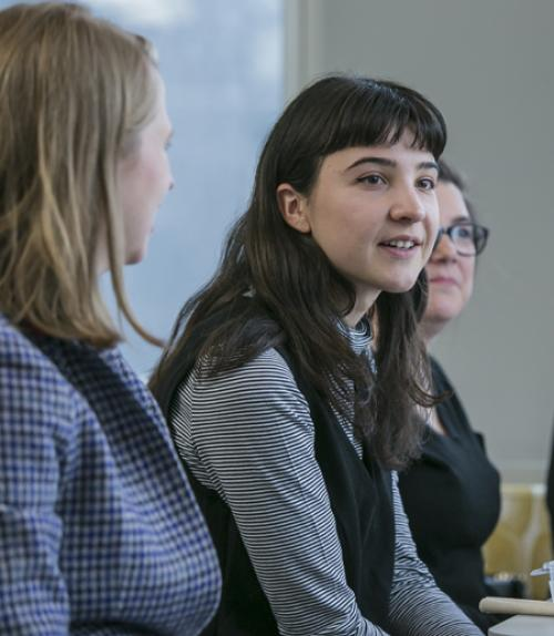 Students on a panel