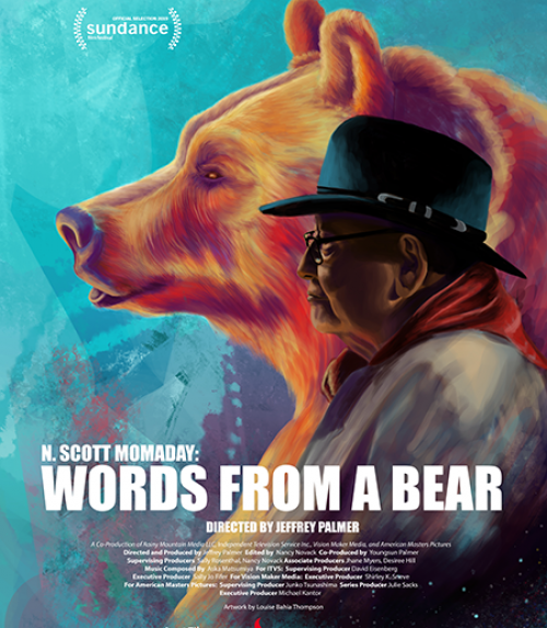 Film poster of a man and a bear facing forward side by side
