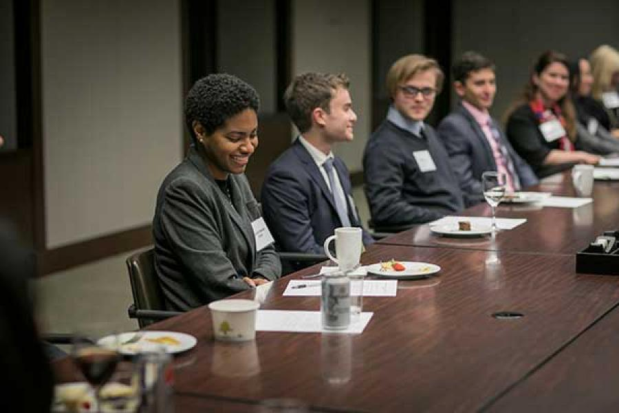 Cornell students at a networking event