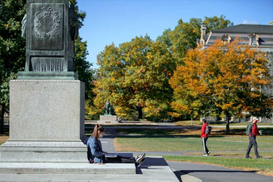 Students on the Arts Quad in Autumn