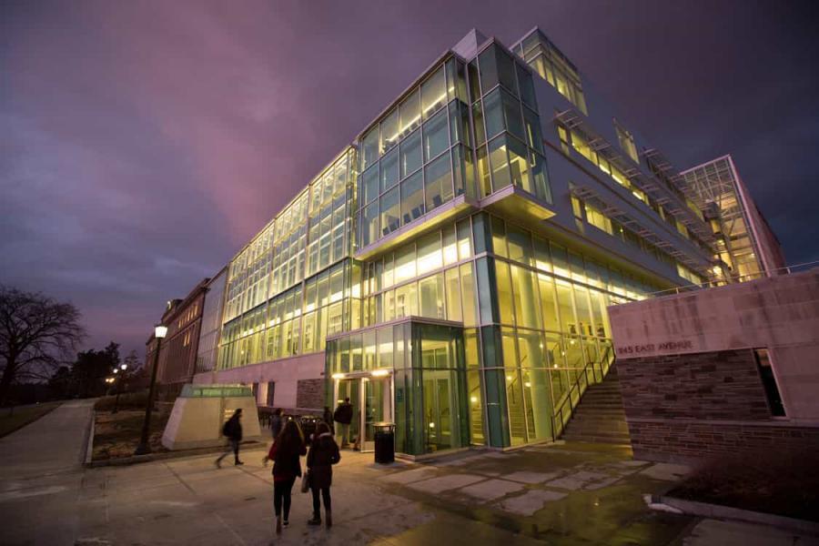 Physical Sciences Building illuminated at dusk