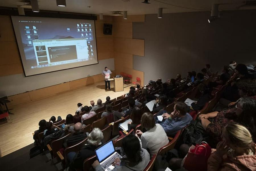 """A lecture by filmmaker Jeffrey Palmer at the """"Words from a Bear"""" film screening"""