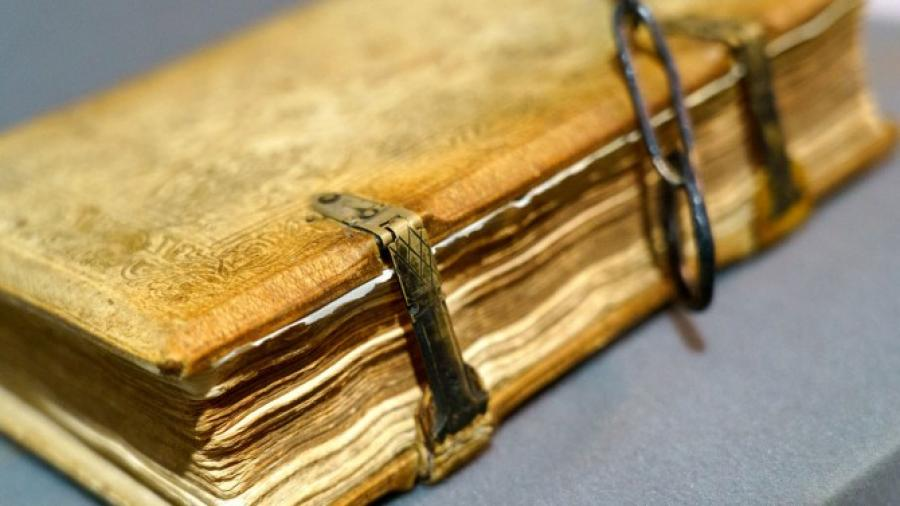 Very old book bound with metal