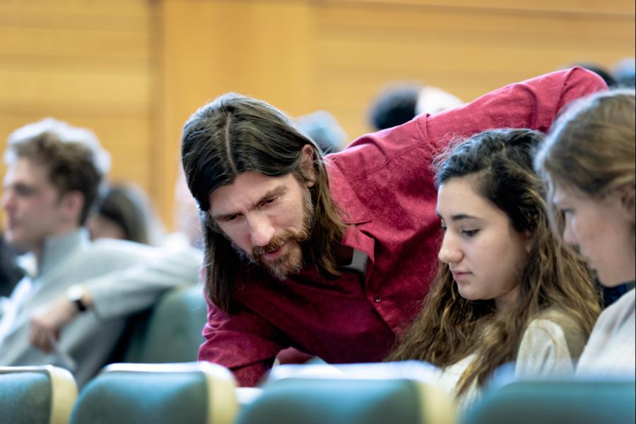 Professor Doug McKee working with students