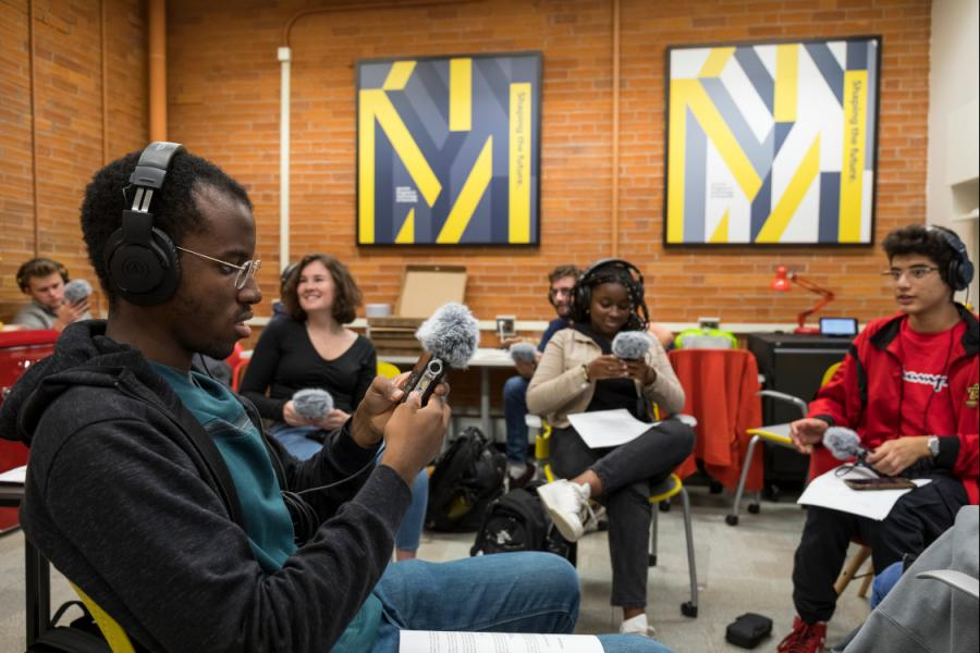 Students in the Milstein program learning audio recording techniques