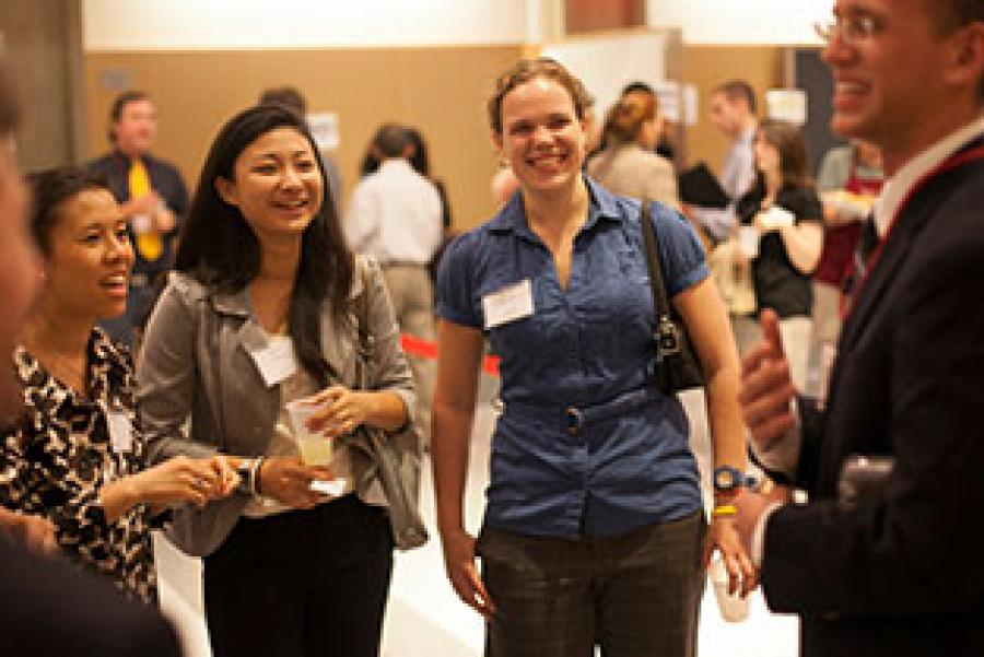 Students at a career event