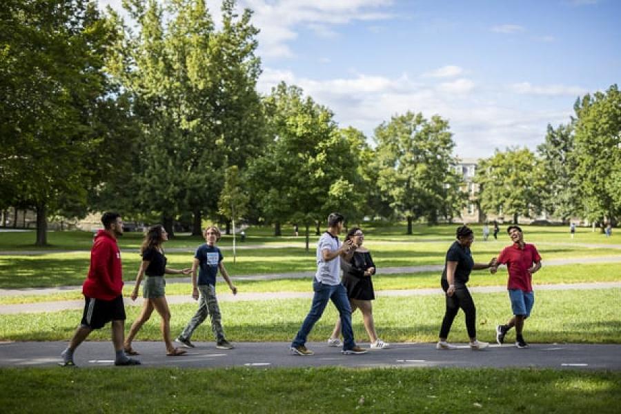 Students walking on the Arts Quad