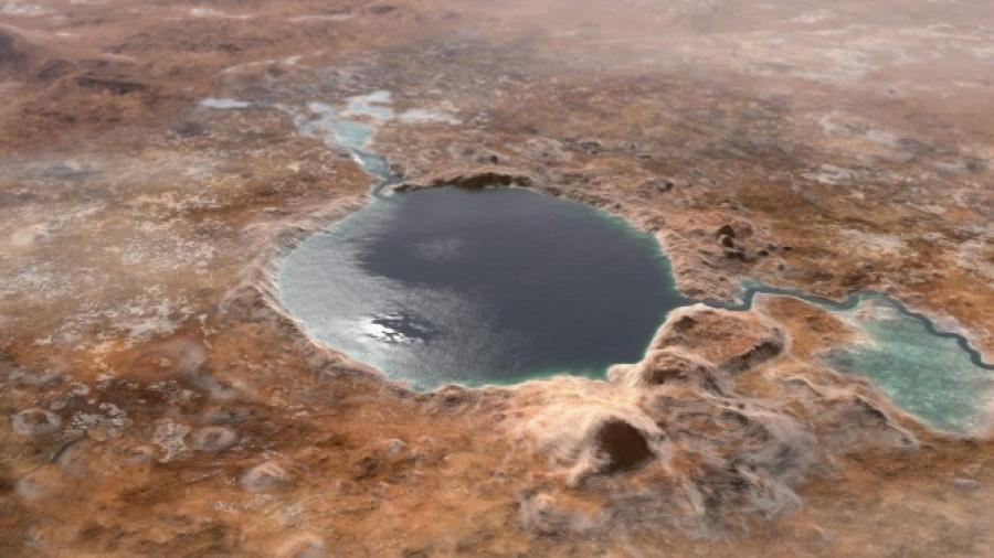 Crater lake on a rocky planet surface