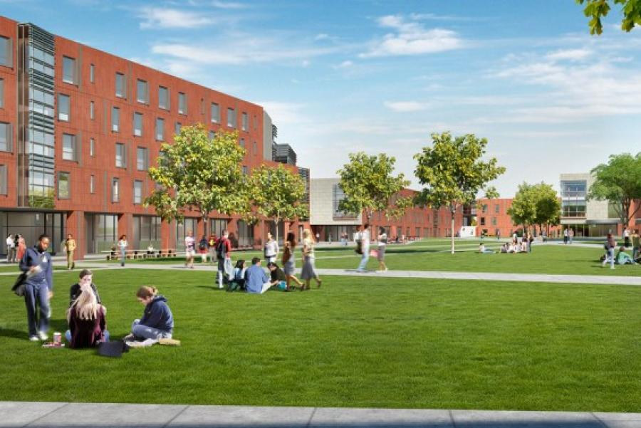 Illustration of future north campus residence halls