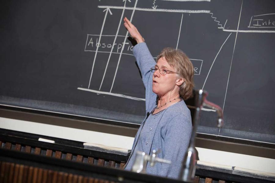 Person teaching at a chalk board