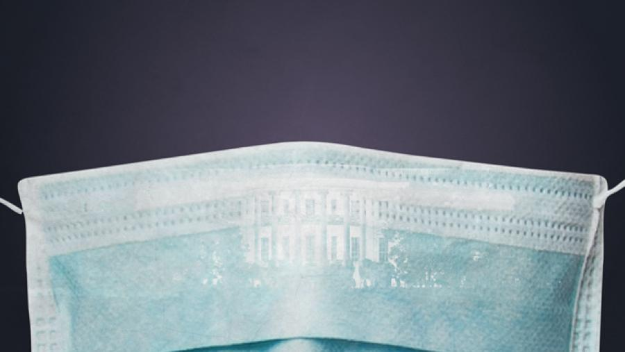 Illustration of a surgical mask overlaying the White House