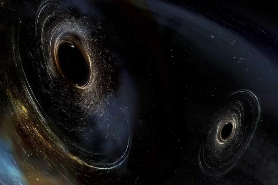 Dark space, interrupted by two black holes