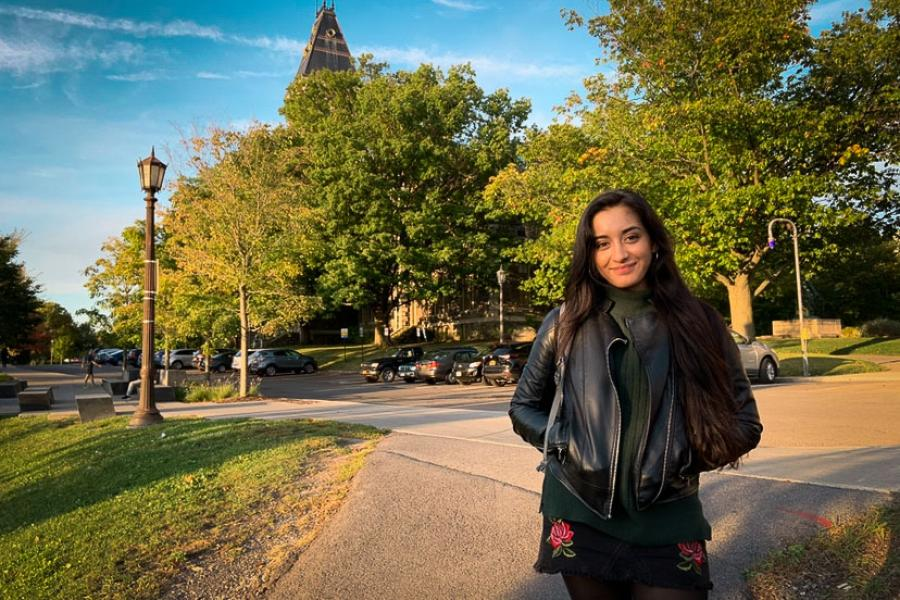 girl on Cornell's campus