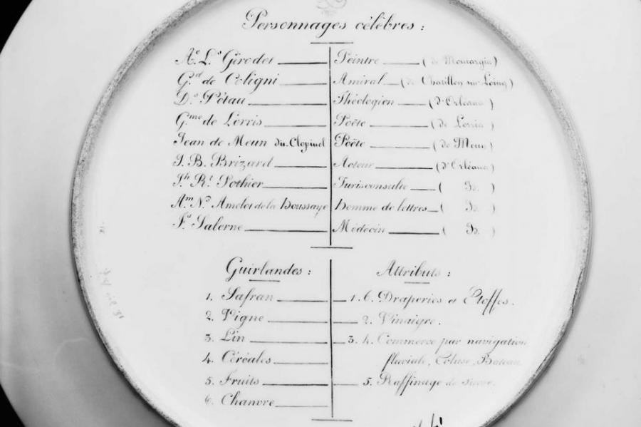Porcelain plate back with writing in French script
