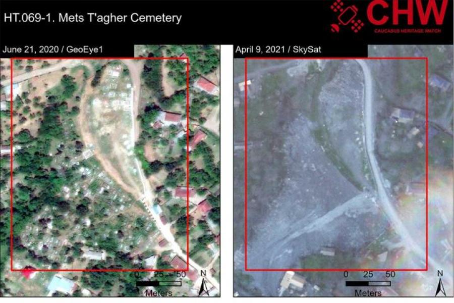 Satellite images of the Mets T'agher Armenian cemetery in Azerbaijan
