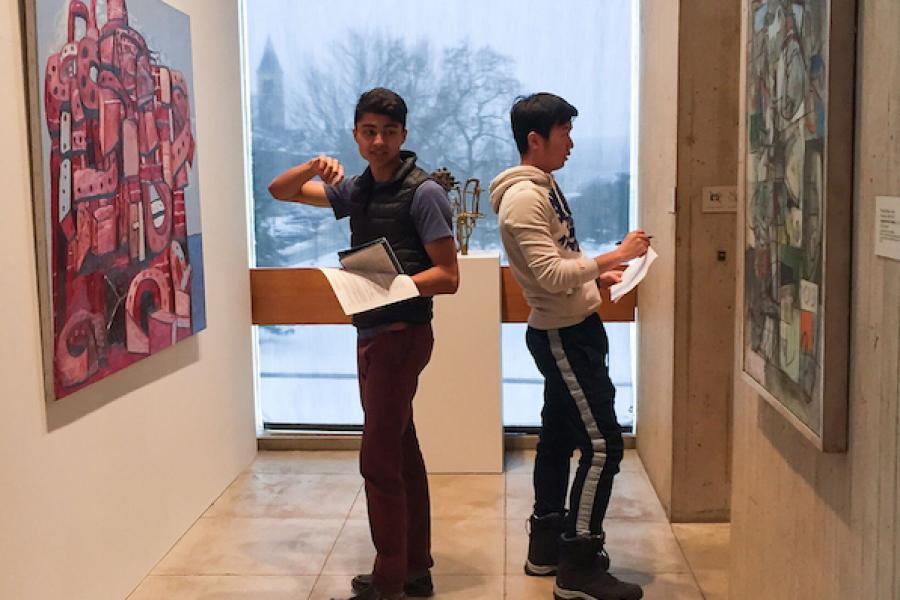 Students in the Johnson Museum of Art