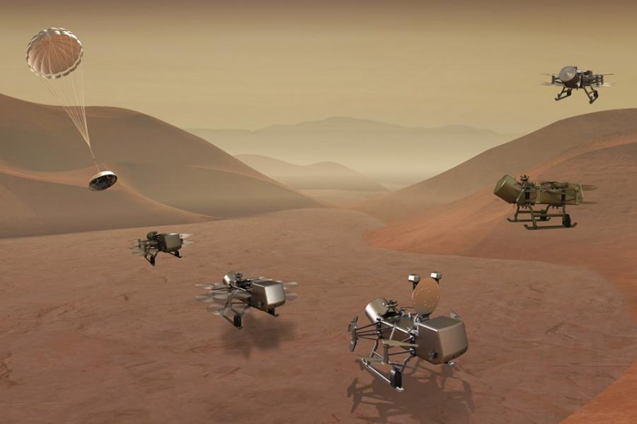 spacecraft landing on a planet