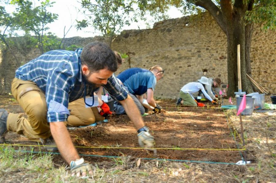 Project participants at work at the Casa della Regina Carolina Project site at Pompeii in southern Italy.