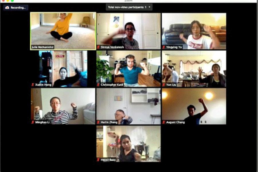 Ten people in individual screens, dancing