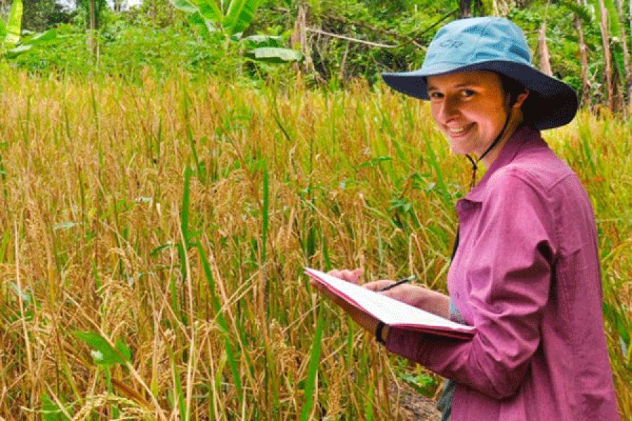 Person wearing hat in field