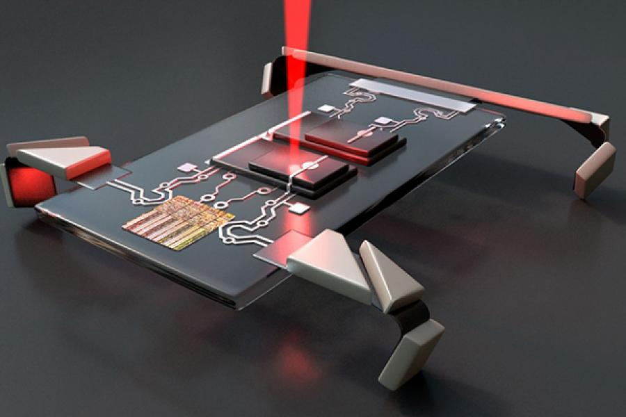 Metal rectangle with circuits attached