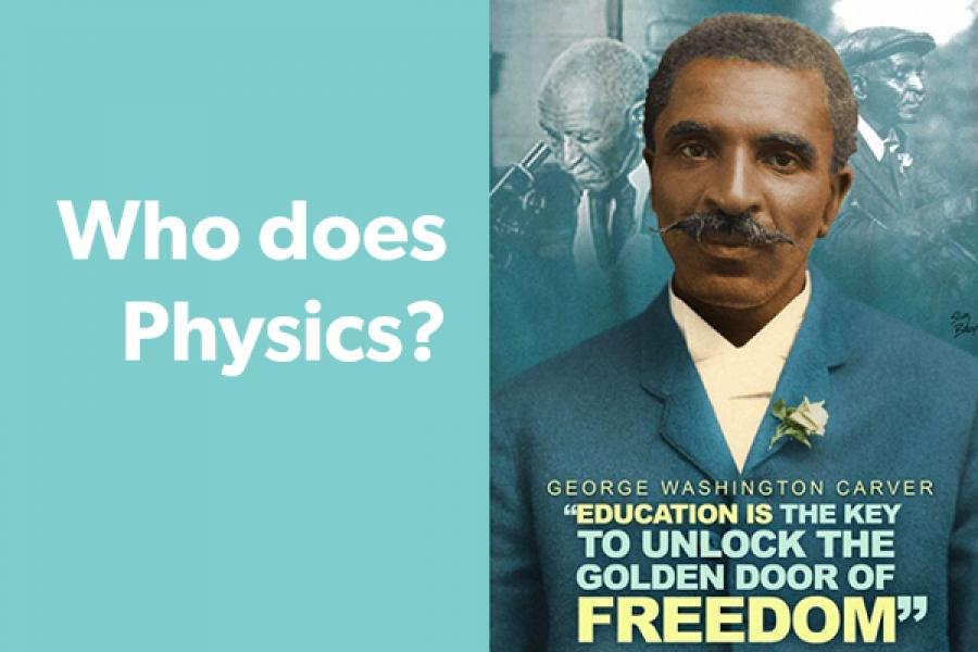 """Historic photo of person with caption, """"Who Does Physics?"""""""