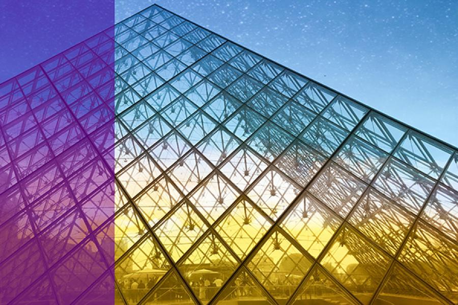 Pyramid made of glass, in rainbow colors
