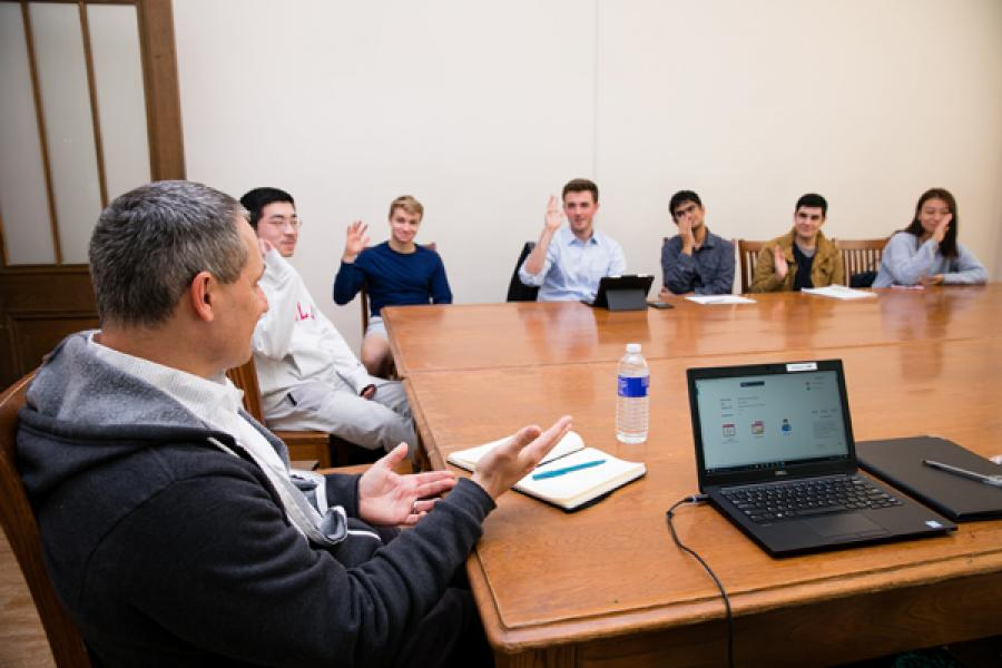 Cristos Goodrow '91 talks with students during a Career Conversation.