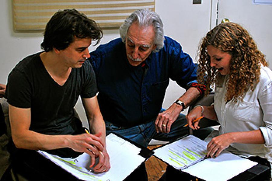 Ben Williams, Bruce Levitt and Ariel Reid during rehearsal