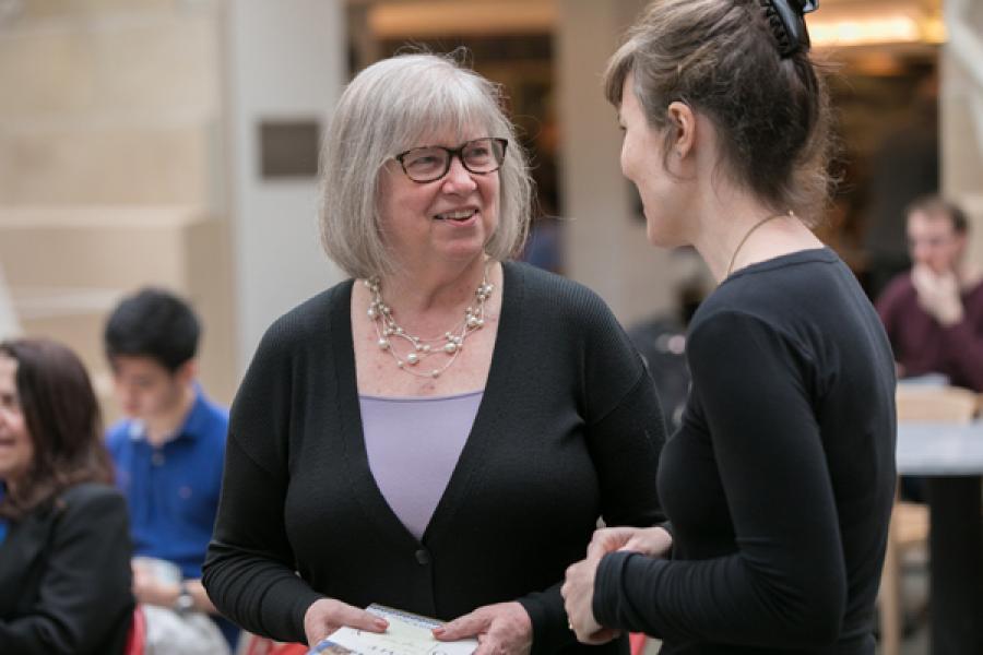 Assemblywoman Barbara Lifton talks to Odyssey organizer Athena Kirk, assistant professor of classics