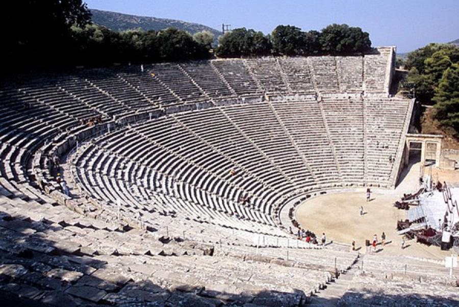 Rows of seats still standing in the ruin of the ancient theatre of Epidaurus