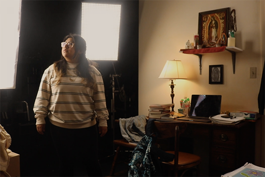student in a bedroom