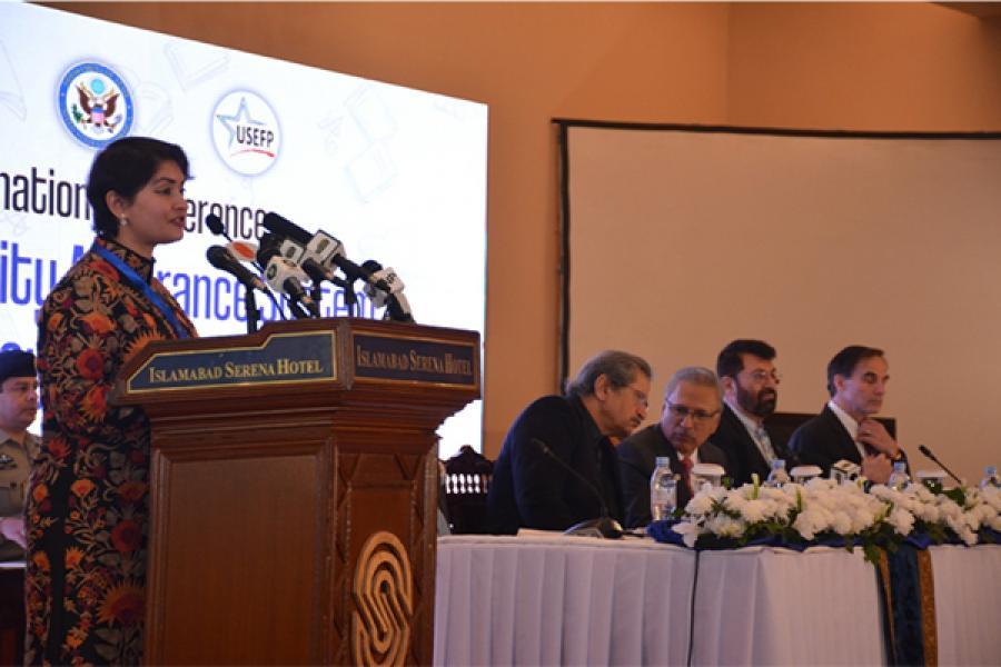 Emceeing the Higher Education Commission of Pakistan's 2019 International Conference on Quality Assurance with the Pakistan Federal Minister of Education Shafqat Mahmood, Pakistan President Arif Alvi, HEC Chairman Tariq Banuri, and US Ambassador Paul W. J