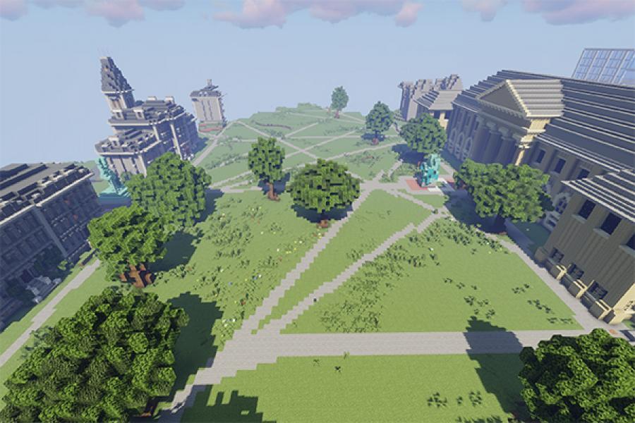 The Arts Quad recreated in Minecraft