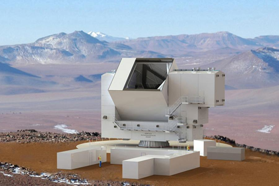 A drawing of the telescope at the mountain site, with a person next to it to show how large it is.