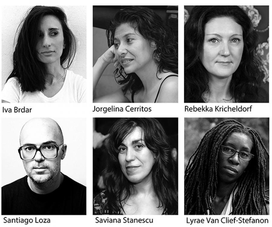 Headshots of six playwrights