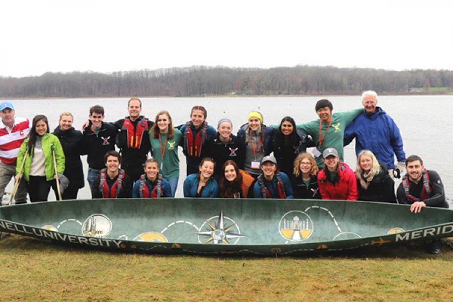 Team with a canoe