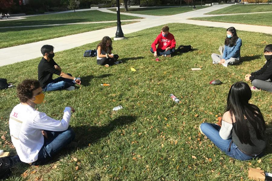 People sit in a circle on the grass
