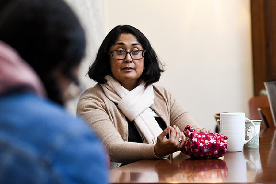 Durba Ghosh talks with students