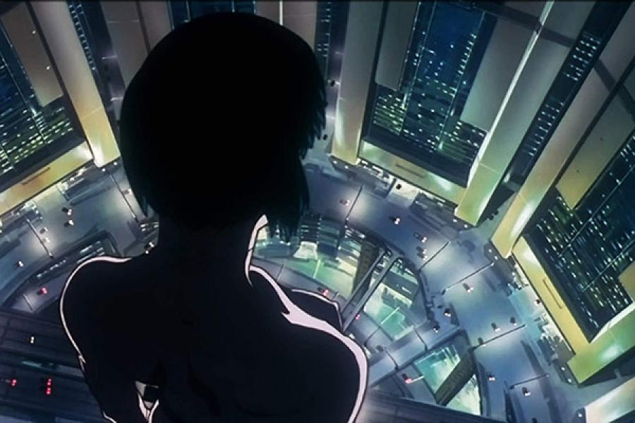 """An animated scene showing a girl looking down a building from """"Ghost in the Shell"""" movie"""