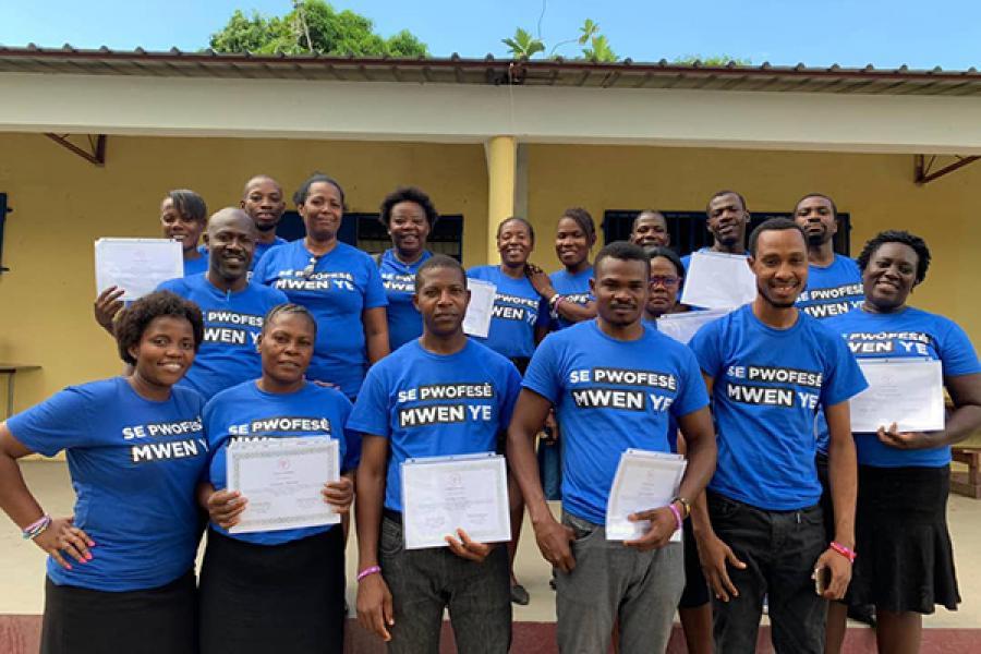 Haitian teachers after their training