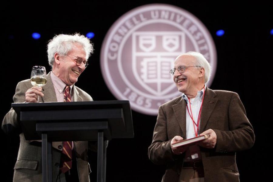 Professors Isaac Kramnick and Glenn Altschuler speak at the Sesquicentennial Dinner, marking Cornell University's 150th anniversary, in April 2015.